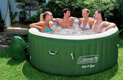 4-Person Coleman Inflatable Spa in Backyard